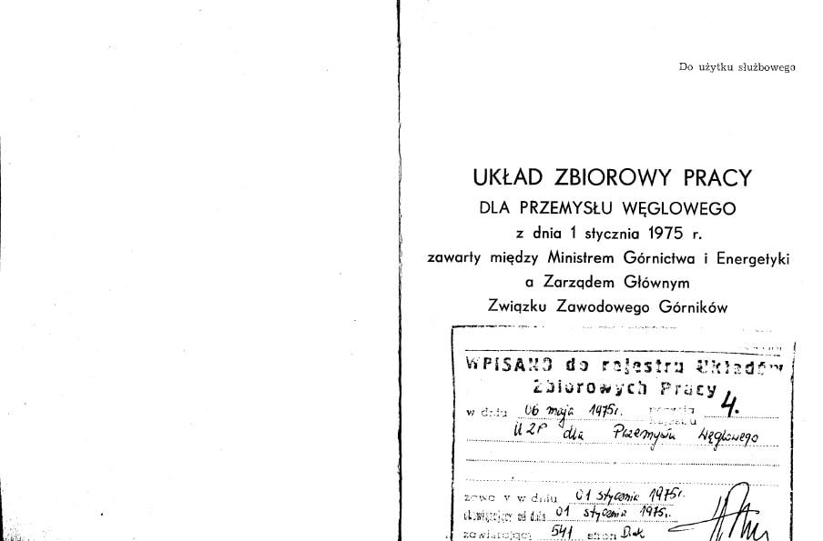Układ Zbiorowy Pracy dla Przemysłu Węglowego z dnia 1 stycznia 1975 roku